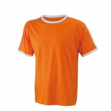 Oranje wit heren t shirt