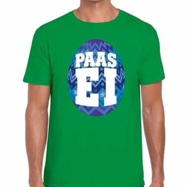 Paasei t shirt groen blauw ei heren