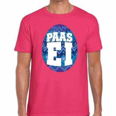 Paasei t shirt roze blauw ei heren