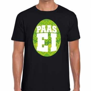 Paasei t shirt zwart groen ei heren