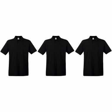 Pack maat xl zwarte poloshirts / polo t shirts premium katoen heren