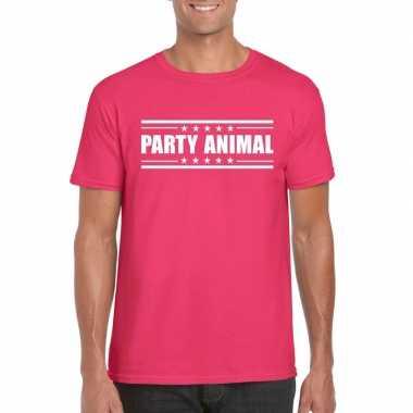 Party animal t shirt fuscia roze heren