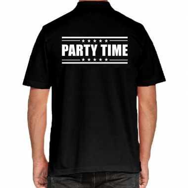 Party time poloshirt zwart heren
