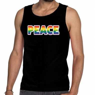 Peace gay pride tanktop/mouwloos shirt zwart heren