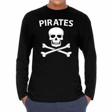 Pirates long sleeve t shirt zwart heren