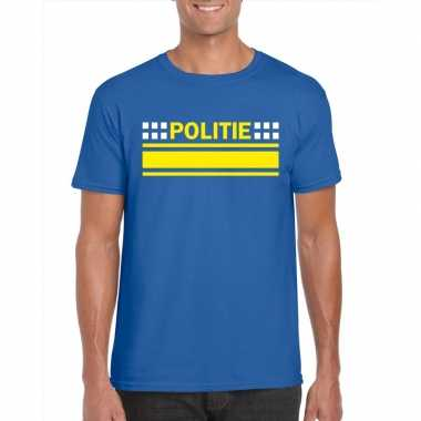 Politie logo t shirt blauw heren