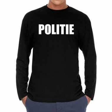 Politie long sleeve t shirt zwart heren