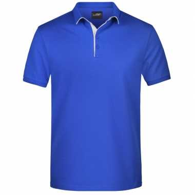 Polo shirt golf pro premium blauw/wit heren