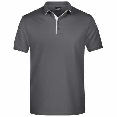 Polo shirt golf pro premium grijs/wit heren