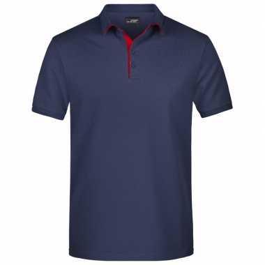 Polo shirt golf pro premium navy/rood heren