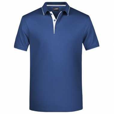 Polo shirt golf pro premium navy/wit heren