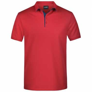 Polo shirt golf pro premium rood/navy heren