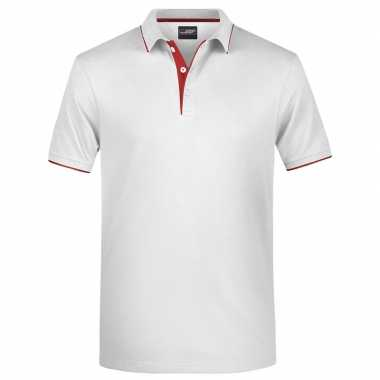 Polo shirt golf pro premium wit/rood heren