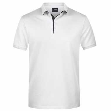 Polo shirt golf pro premium wit/zwart heren