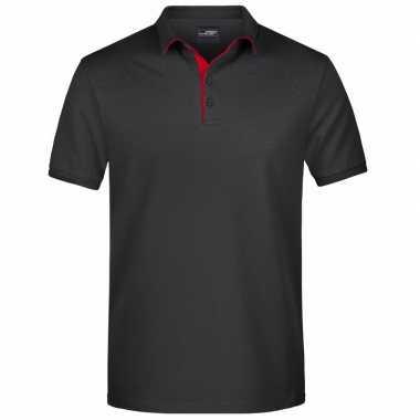 Polo shirt golf pro premium zwart/rood heren