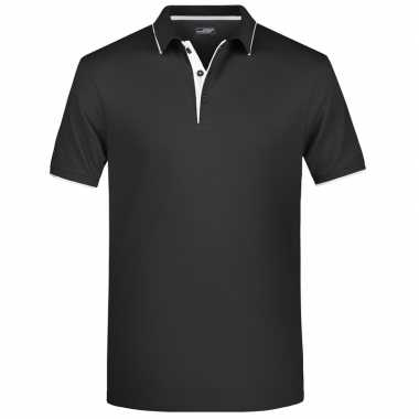 Polo shirt golf pro premium zwart/wit heren