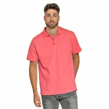Polo shirt koraal roze heren