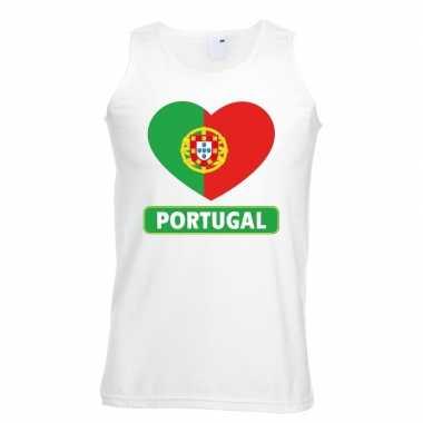 Portugal hart vlag singlet shirt/ tanktop wit heren