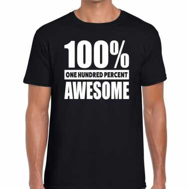 Procent awesome tekst t shirt zwart heren