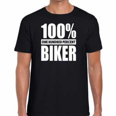 Procent biker tekst t shirt zwart heren