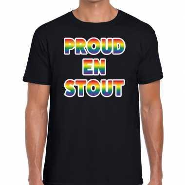 Proud stout regenboog gaypride shirt zwart heren