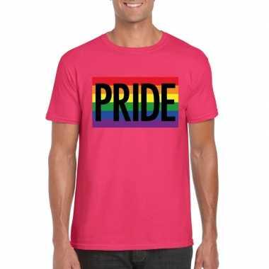 Regenboog vlag pride shirt roze heren