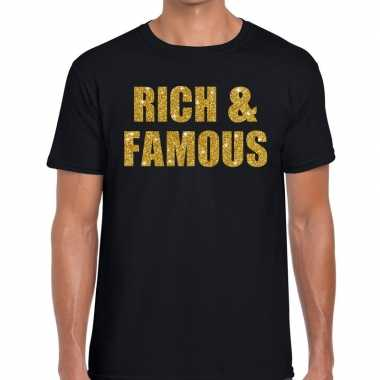 Rich and famous glitter tekst t shirt zwart heren