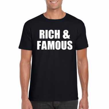 Rich & famous tekst t shirt zwart heren