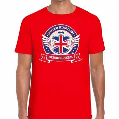 Rood engeland drinking team t shirt heren