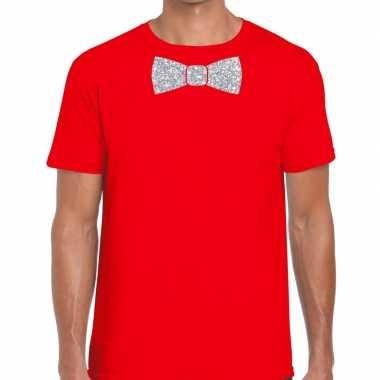 Rood fun t shirt vlinderdas glitter zilver heren