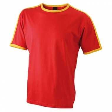 Rood geel heren t shirt