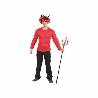 Rood gespierd duivel shirt volwassenen