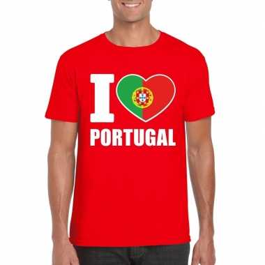 Rood i love portugal fan shirt heren