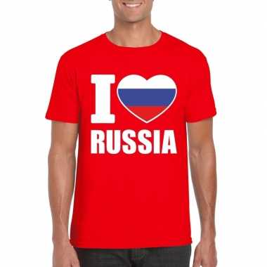 Rood i love rusland fan shirt heren