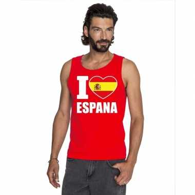 Rood i love spanje fan singlet shirt/ tanktop heren