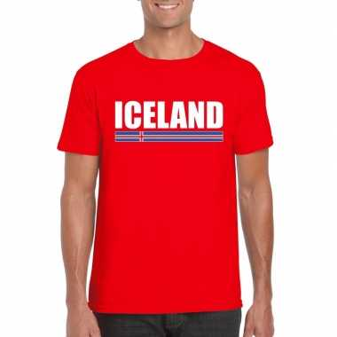 Rood ijsland supporter t shirt heren