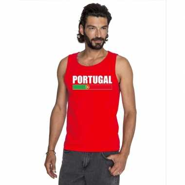Rood portugal supporter singlet shirt/ tanktop heren