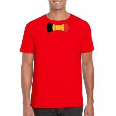 Rood t shirt belgie vlag strikje heren