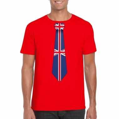 Rood t shirt engeland vlag stropdas heren