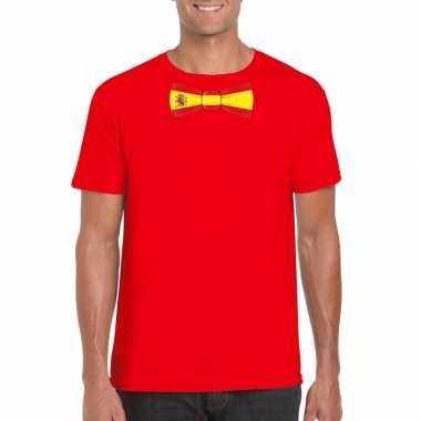 Rood t shirt spanje vlag strikje heren
