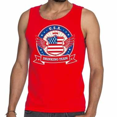 Rood usa drinking team tanktop / mouwloos shirt heren