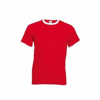 Rood wit ringer t shirt