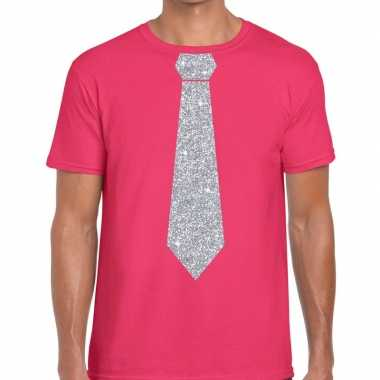 Roze fun t shirt stropdas glitter zilver heren