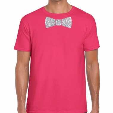 Roze fun t shirt vlinderdas glitter zilver heren