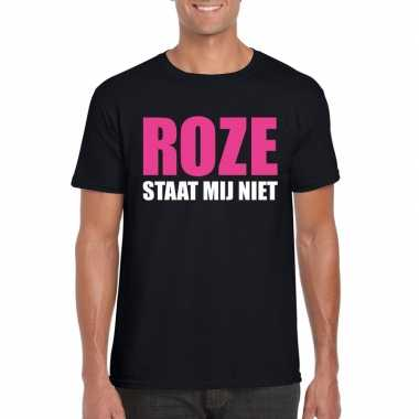 Roze staat mij niet toppers t shirt zwart heren