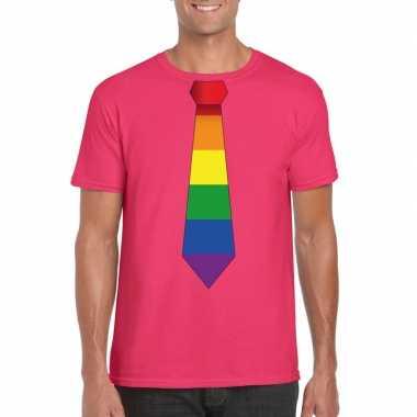 Roze t shirt regenboog vlag stropdas heren