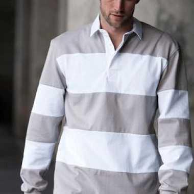 Rugby shirt grijs wit gestreept