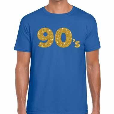's goud glitter tekst t shirt blauw heren
