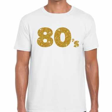 's goud glitter tekst t shirt wit heren