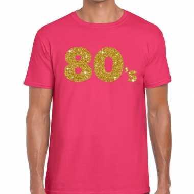 's gouden glitter tekst t shirt roze heren